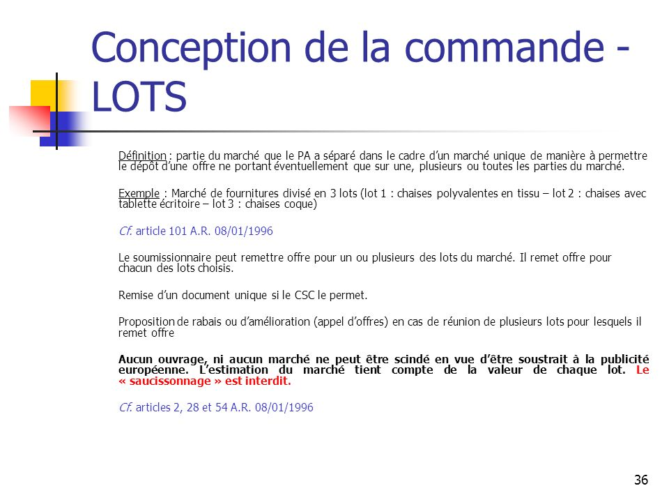 Conception de la commande - LOTS