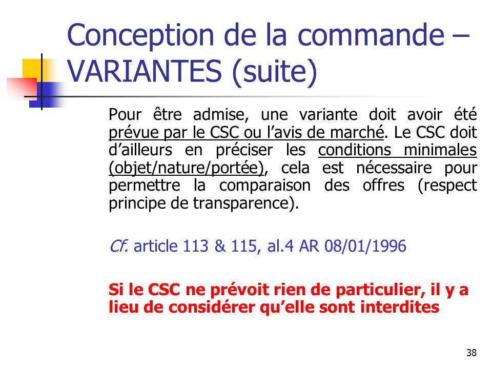 Conception de la commande – VARIANTES (suite)