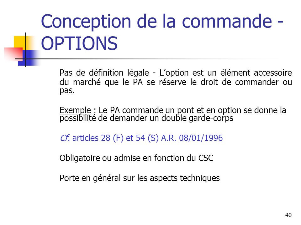 Conception de la commande - OPTIONS