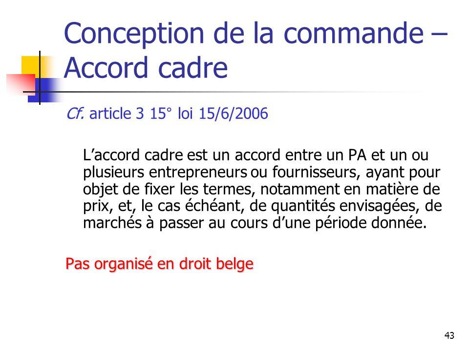 Conception de la commande – Accord cadre