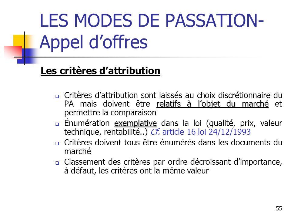 LES MODES DE PASSATION- Appel d'offres