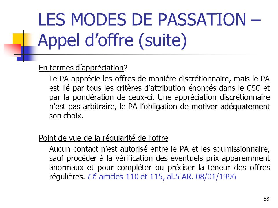 LES MODES DE PASSATION – Appel d'offre (suite)