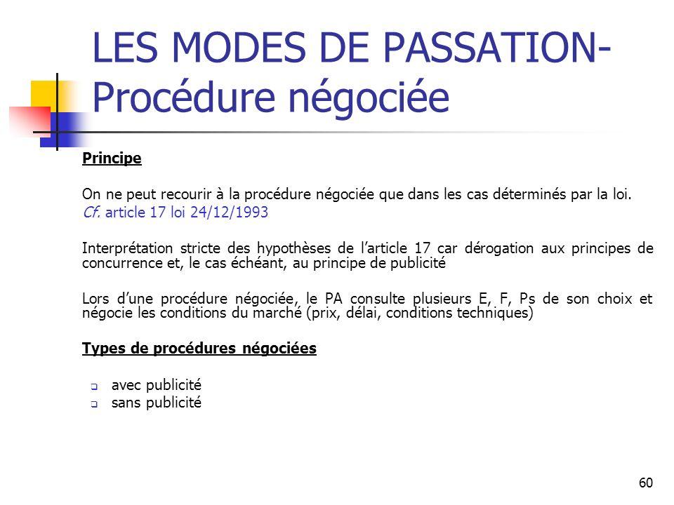LES MODES DE PASSATION- Procédure négociée