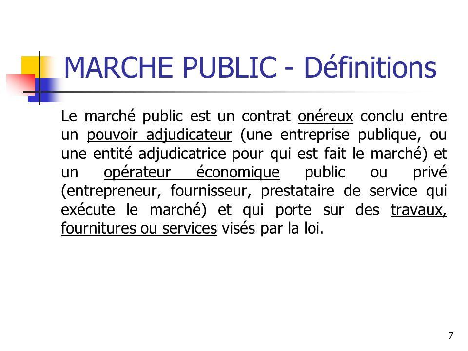 MARCHE PUBLIC - Définitions