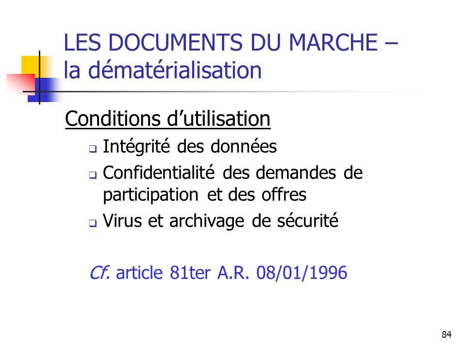 LES DOCUMENTS DU MARCHE – la dématérialisation
