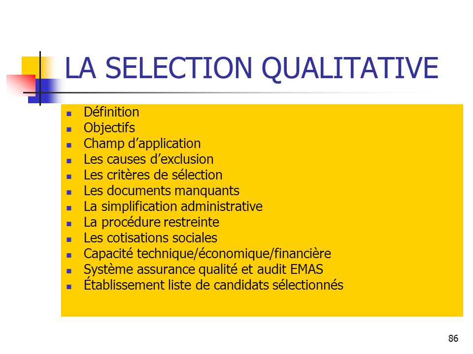 LA SELECTION QUALITATIVE