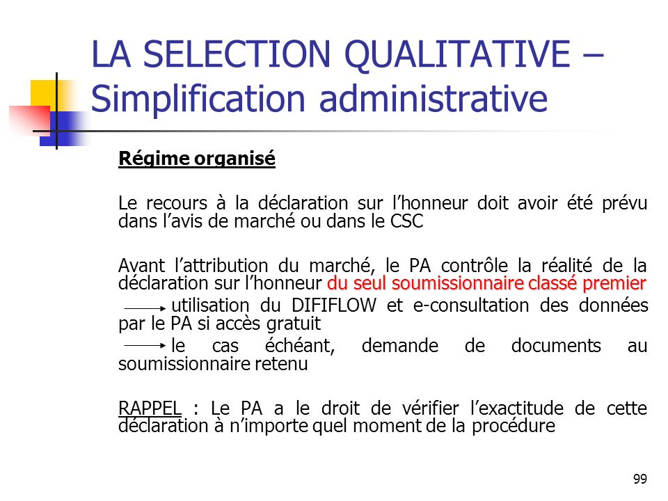 LA SELECTION QUALITATIVE – Simplification administrative