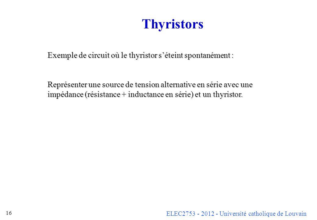 Thyristors Exemple de circuit où le thyristor s'éteint spontanément :