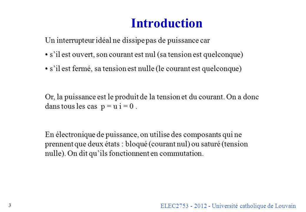 Introduction Un interrupteur idéal ne dissipe pas de puissance car