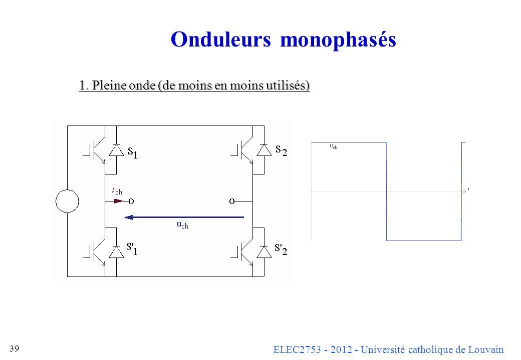 Onduleurs monophasés 1. Pleine onde (de moins en moins utilisés)