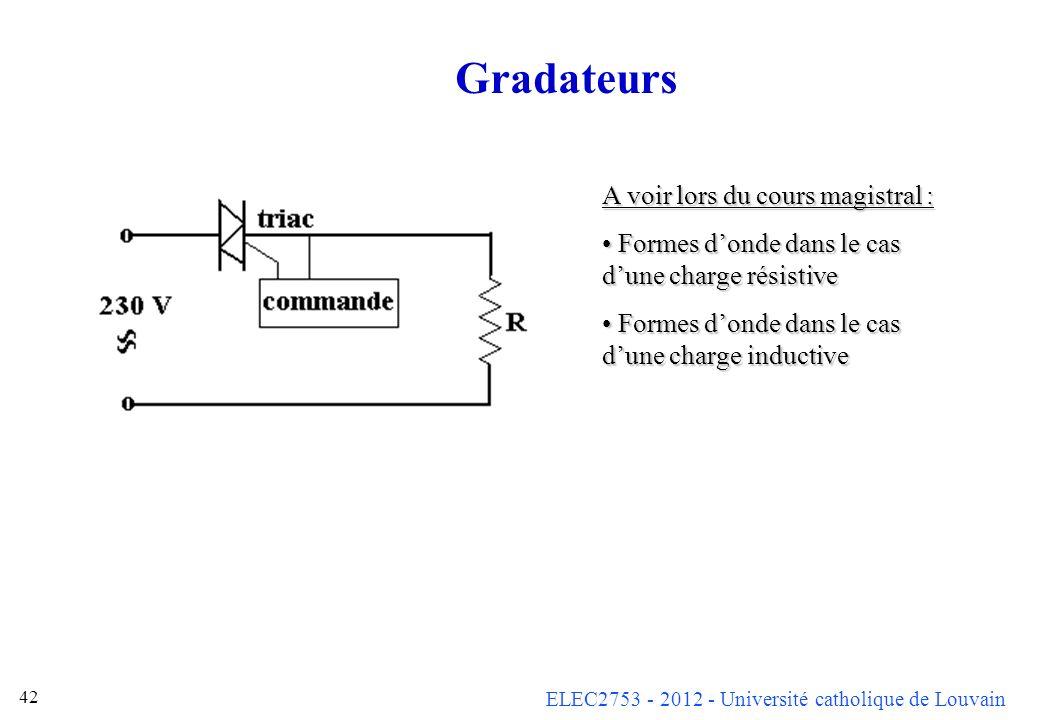 Gradateurs A voir lors du cours magistral :