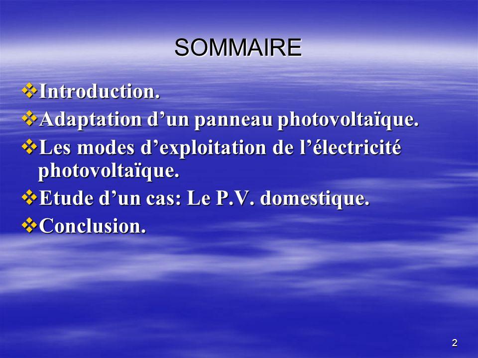 SOMMAIRE Introduction. Adaptation d'un panneau photovoltaïque.