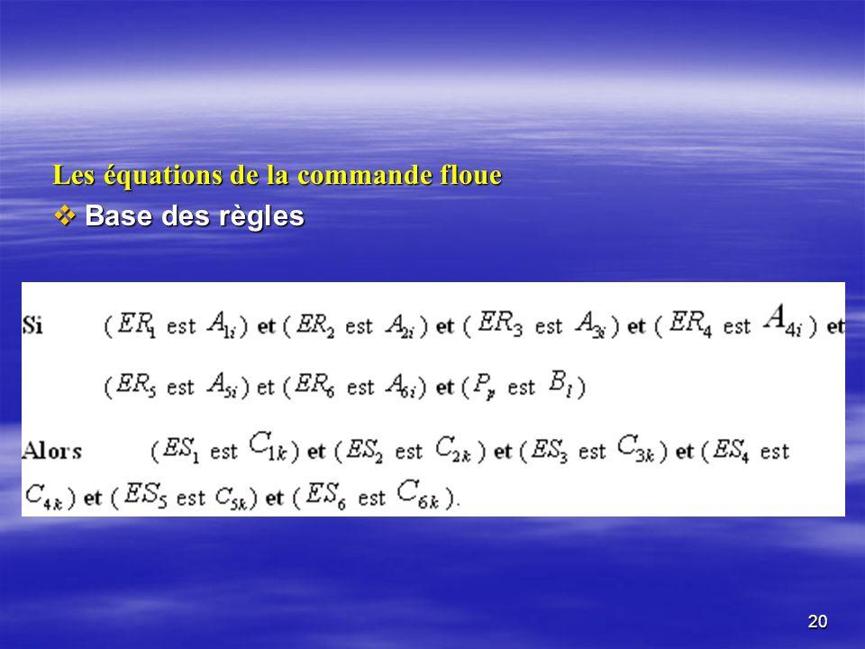 Les équations de la commande floue