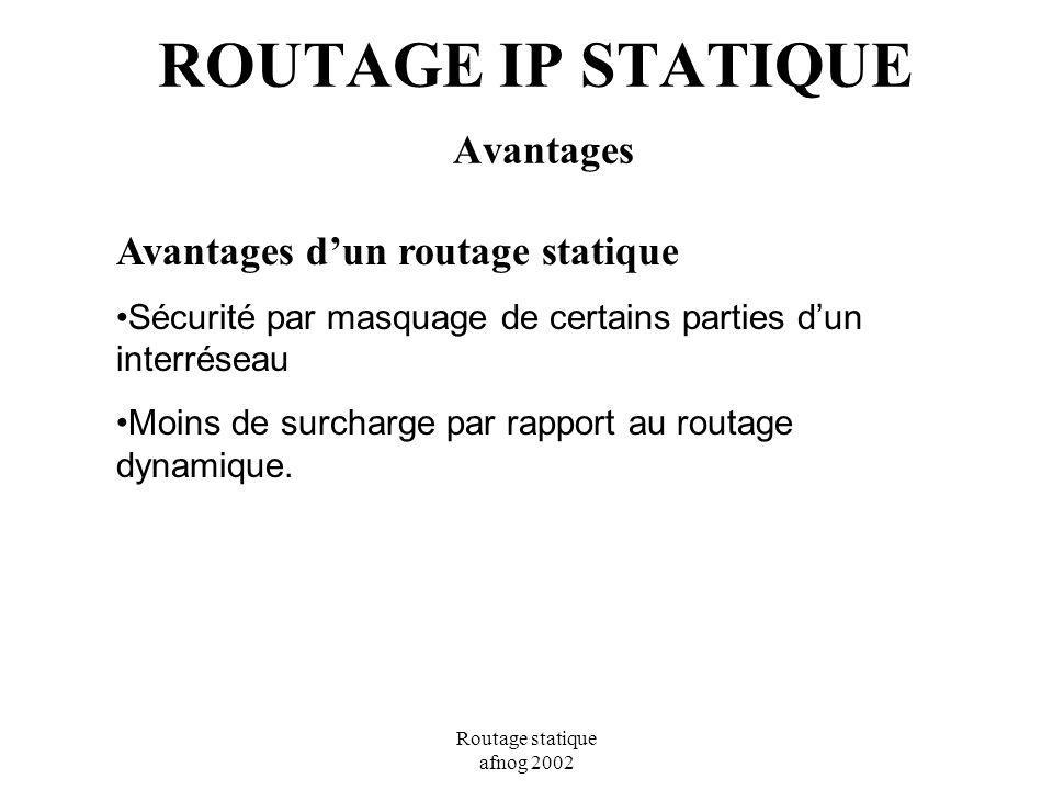 ROUTAGE IP STATIQUE Avantages