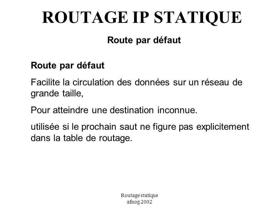 ROUTAGE IP STATIQUE Route par défaut