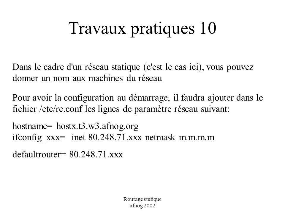 Travaux pratiques 10 Dans le cadre d un réseau statique (c est le cas ici), vous pouvez donner un nom aux machines du réseau.