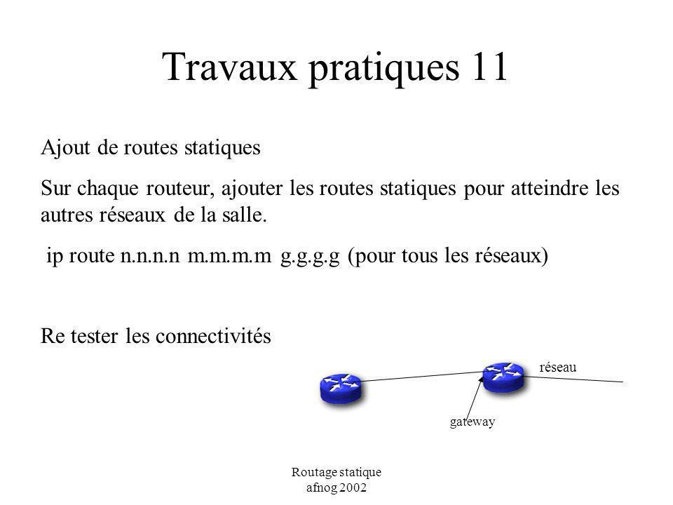 Travaux pratiques 11 Ajout de routes statiques