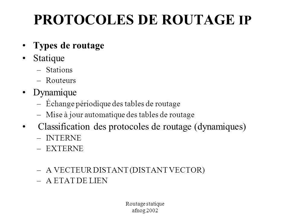 PROTOCOLES DE ROUTAGE IP