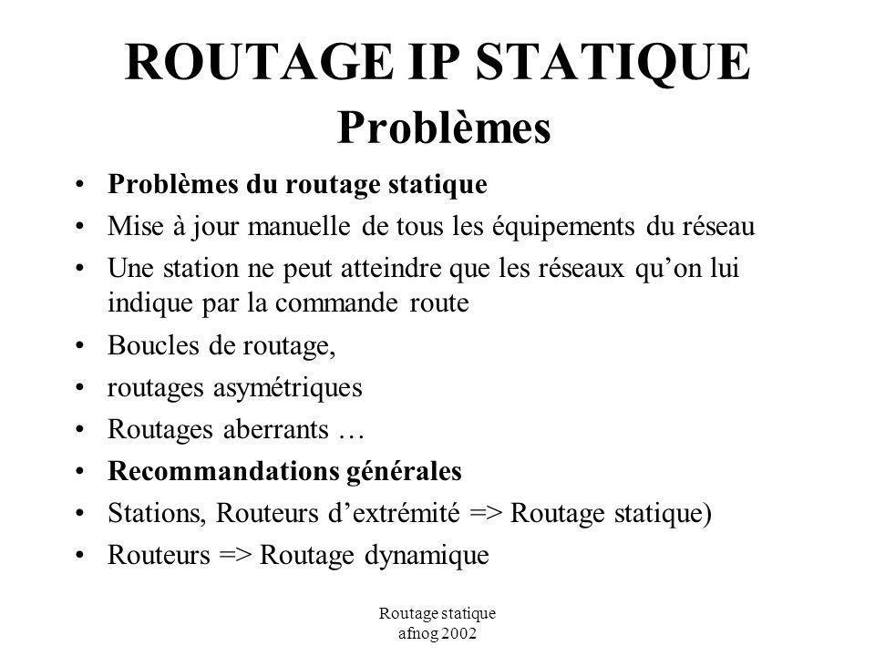 ROUTAGE IP STATIQUE Problèmes
