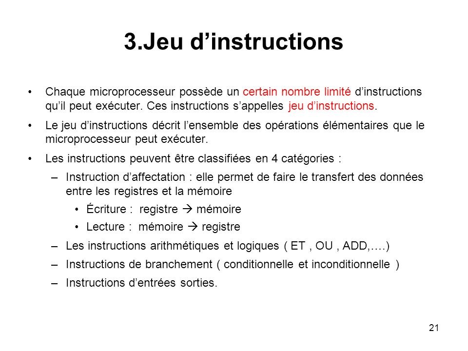 3.Jeu d'instructions