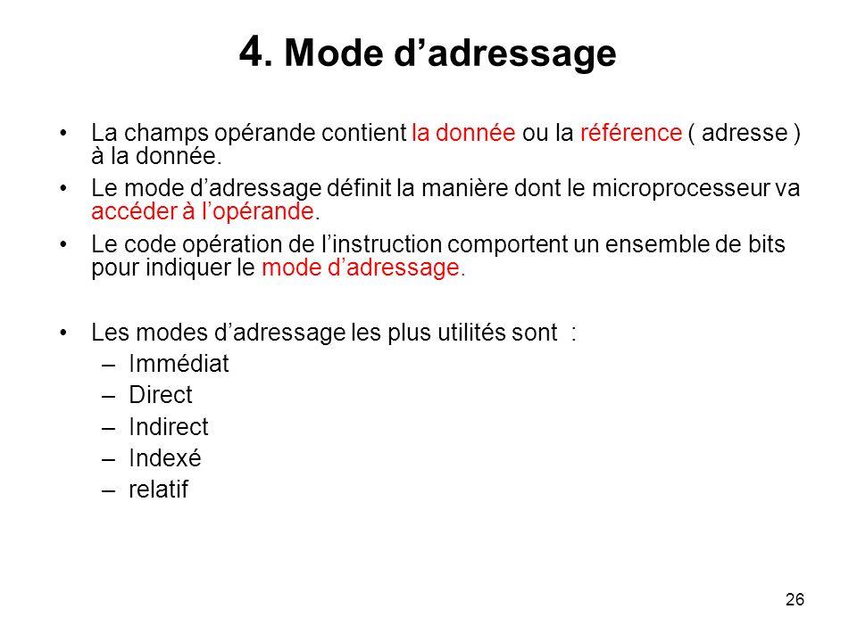 4. Mode d'adressage La champs opérande contient la donnée ou la référence ( adresse ) à la donnée.