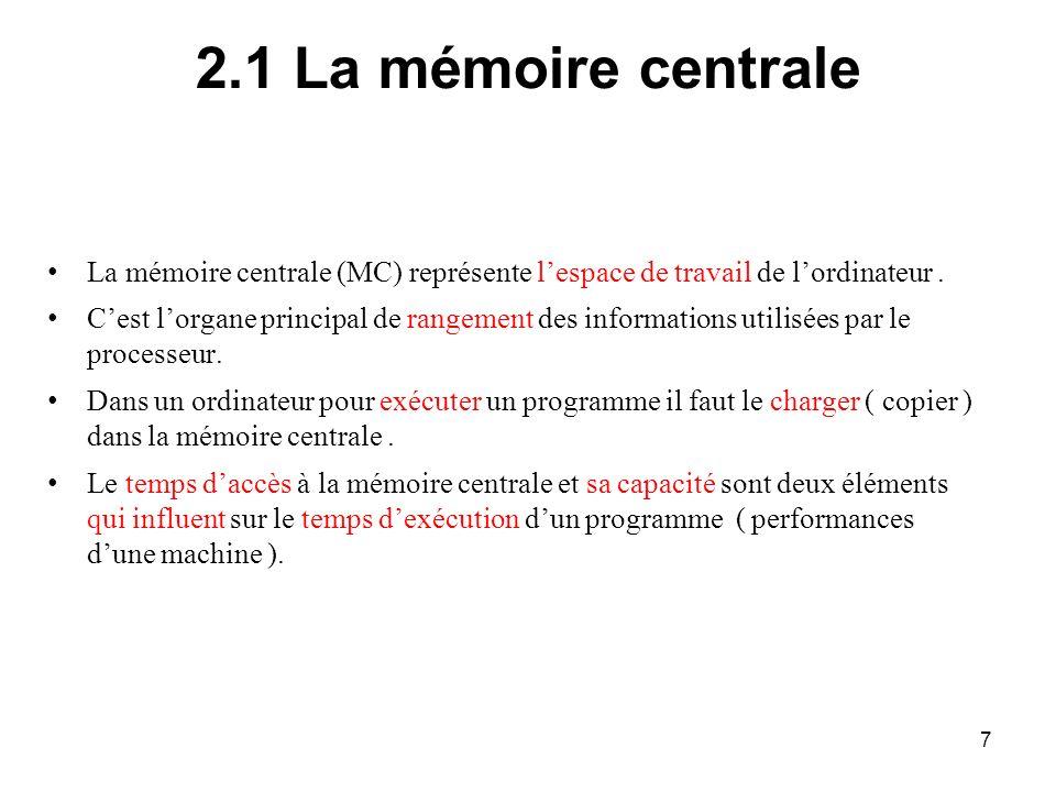 2.1 La mémoire centrale La mémoire centrale (MC) représente l'espace de travail de l'ordinateur .