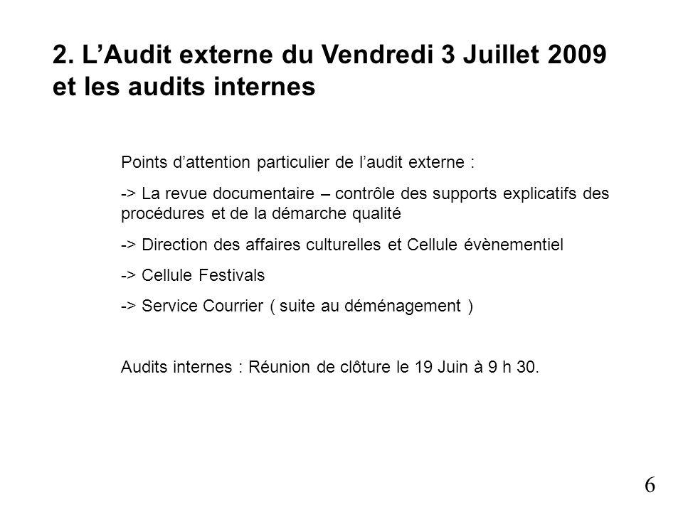 2. L'Audit externe du Vendredi 3 Juillet 2009 et les audits internes