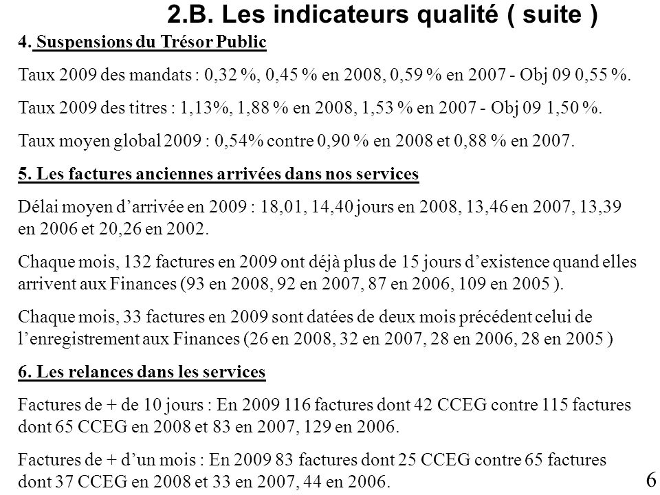 2.B. Les indicateurs qualité ( suite )