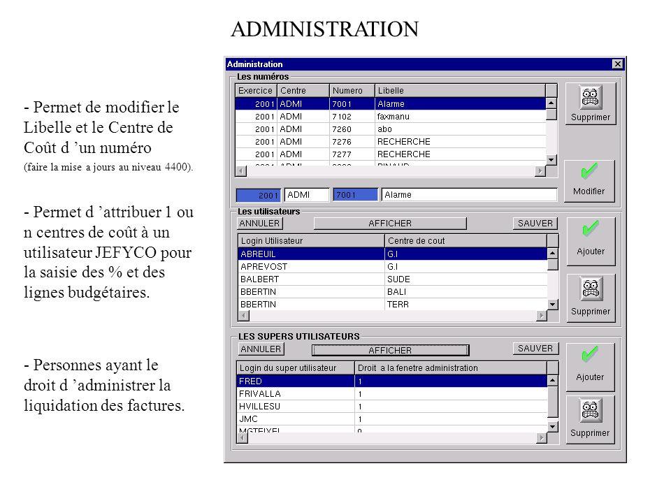 ADMINISTRATION - Permet de modifier le Libelle et le Centre de Coût d 'un numéro. (faire la mise a jours au niveau 4400).