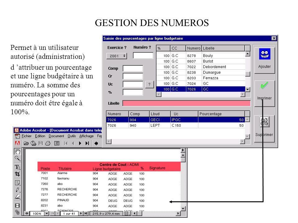 GESTION DES NUMEROS Permet à un utilisateur autorisé (administration)
