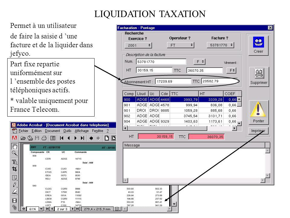 LIQUIDATION TAXATION Permet à un utilisateur