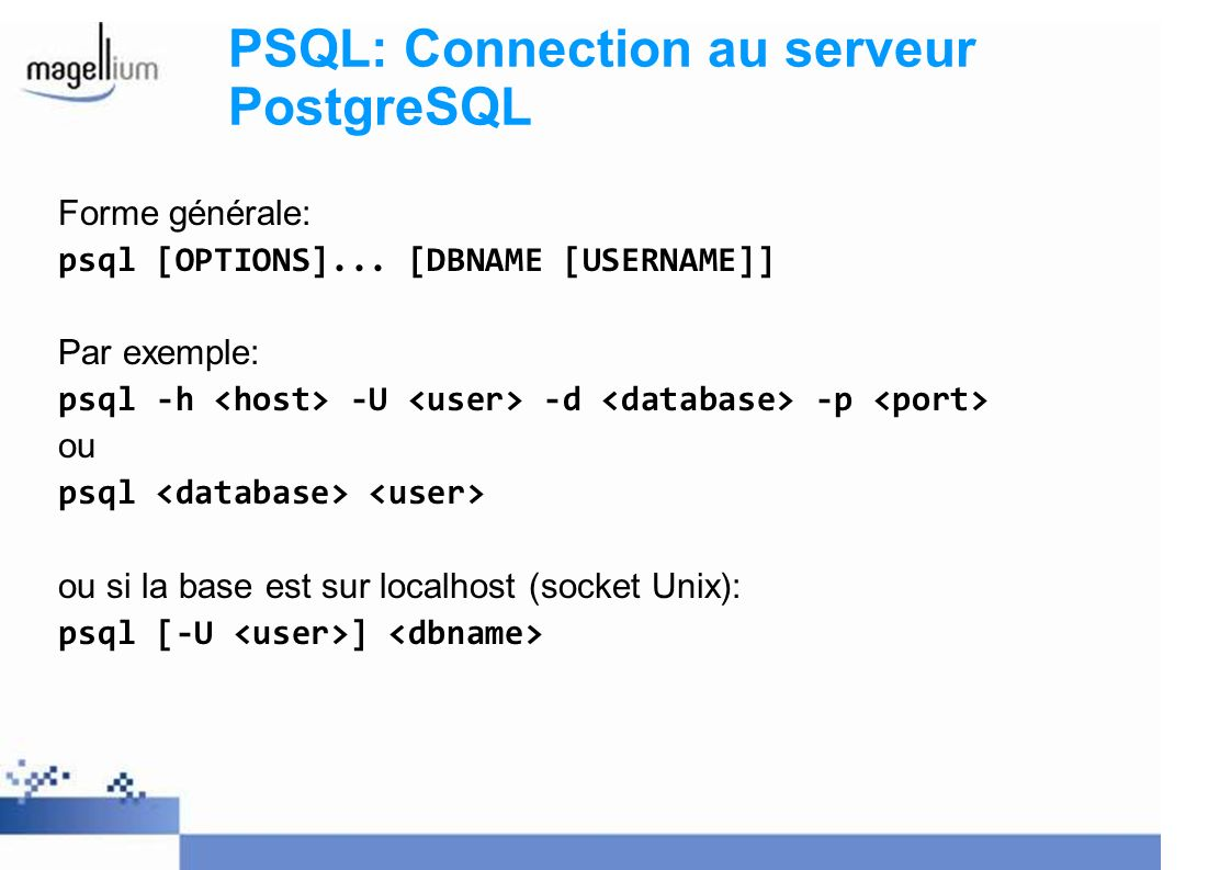 PSQL: Connection au serveur PostgreSQL