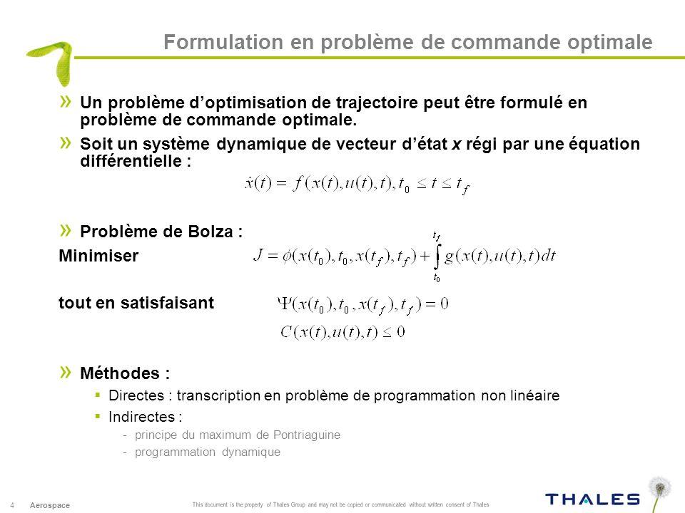 Formulation en problème de commande optimale