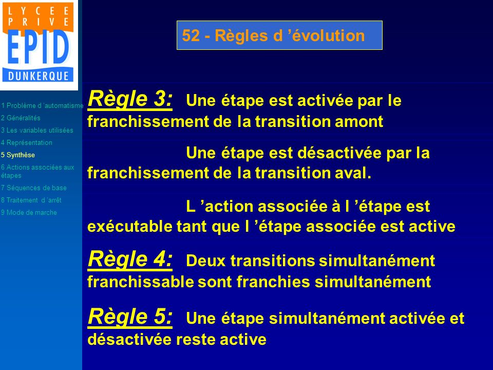 Règle 5: Une étape simultanément activée et désactivée reste active