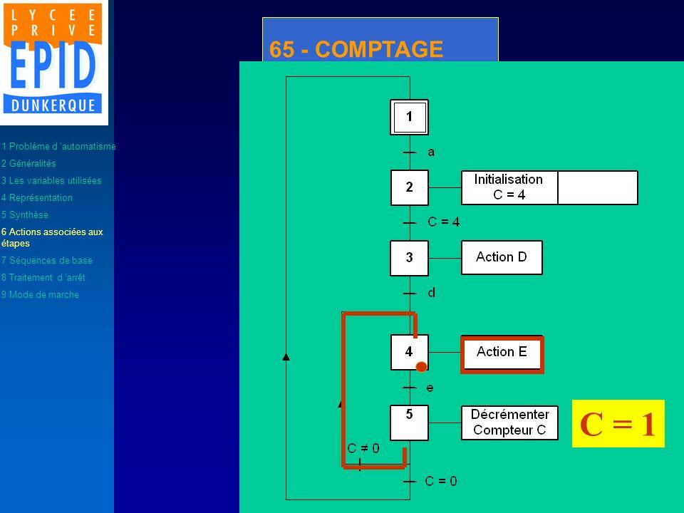C = 1 65 - COMPTAGE 1 Problème d 'automatisme 2 Généralités
