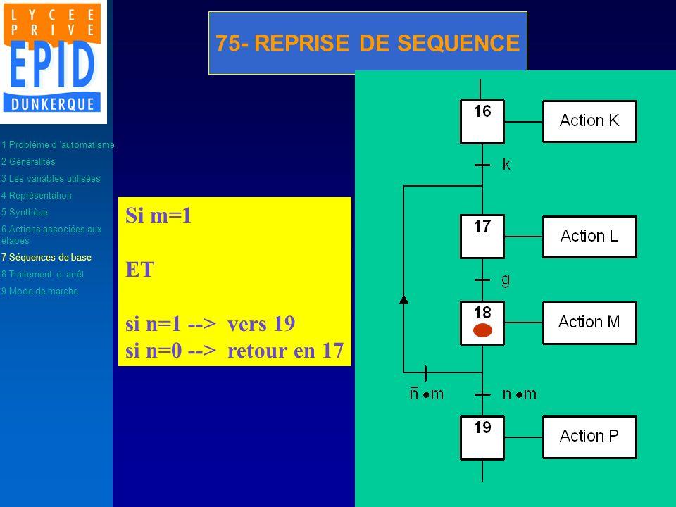 75- REPRISE DE SEQUENCE Si m=1 ET si n=1 --> vers 19