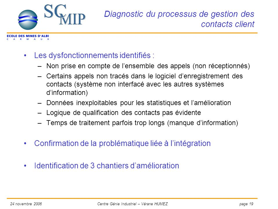 Diagnostic du processus de gestion des contacts client