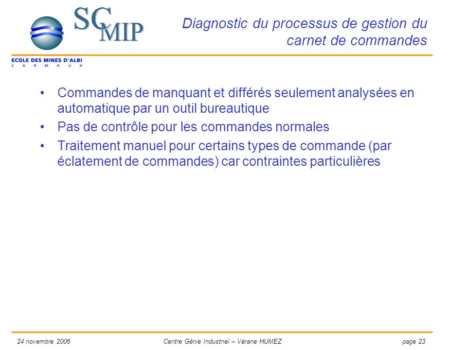 Diagnostic du processus de gestion du carnet de commandes