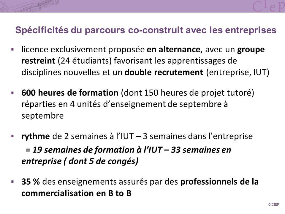 Spécificités du parcours co-construit avec les entreprises