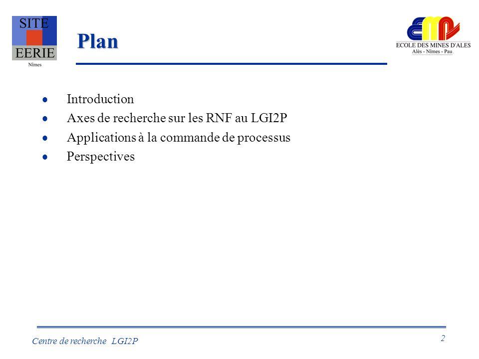 Plan Introduction Axes de recherche sur les RNF au LGI2P