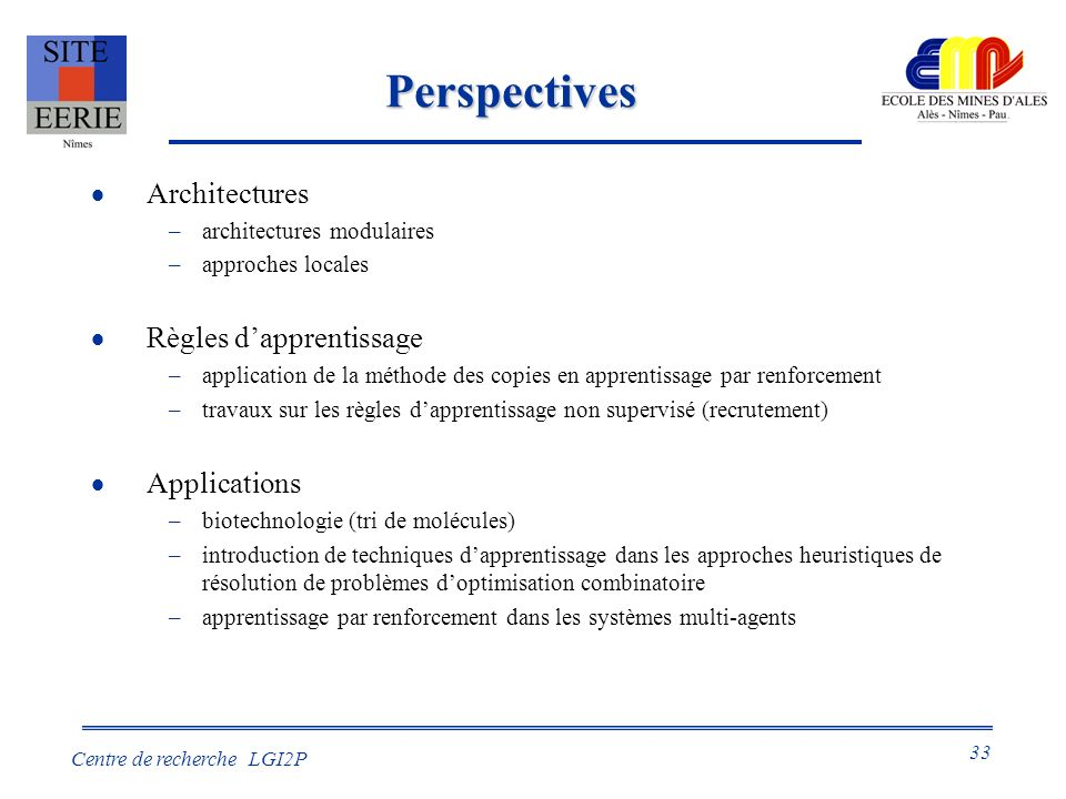 Perspectives Architectures Règles d'apprentissage Applications
