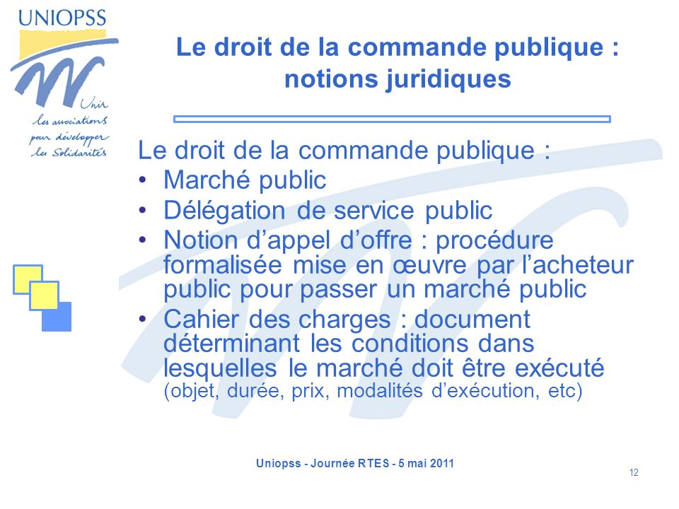 Le droit de la commande publique : notions juridiques