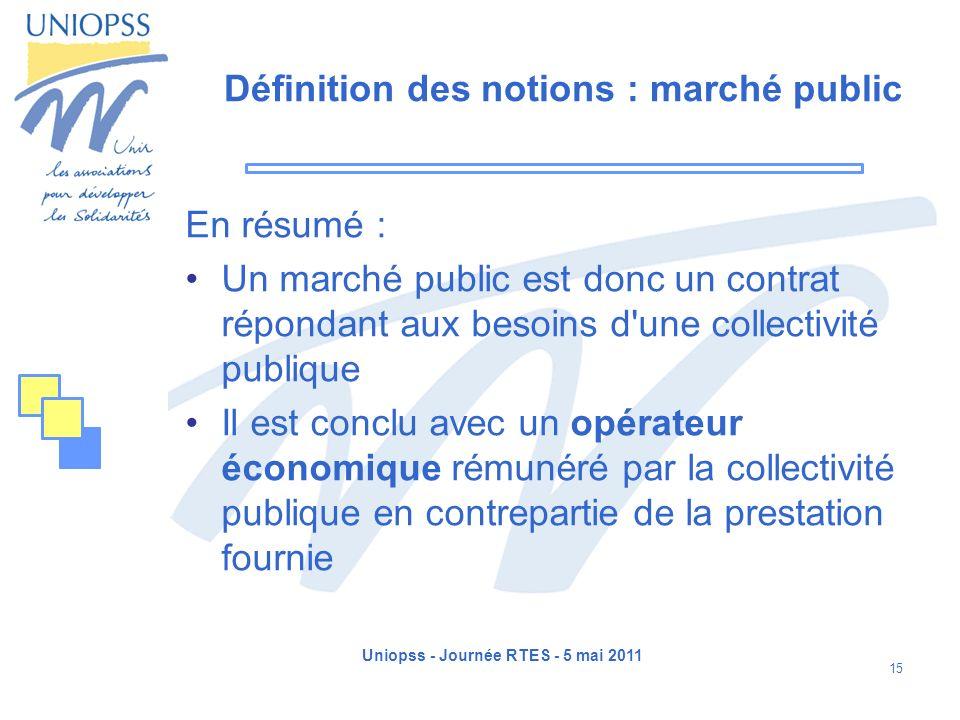 Définition des notions : marché public