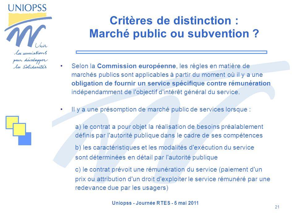 Critères de distinction : Marché public ou subvention