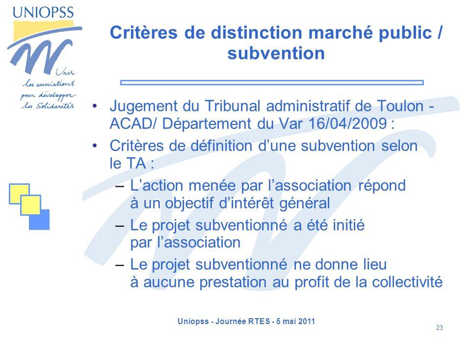 Critères de distinction marché public / subvention