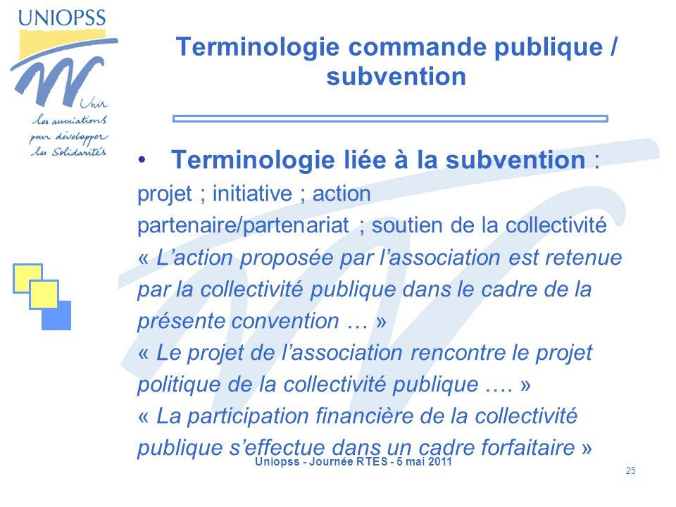 Terminologie commande publique / subvention