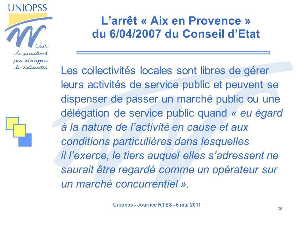 L'arrêt « Aix en Provence » du 6/04/2007 du Conseil d'Etat
