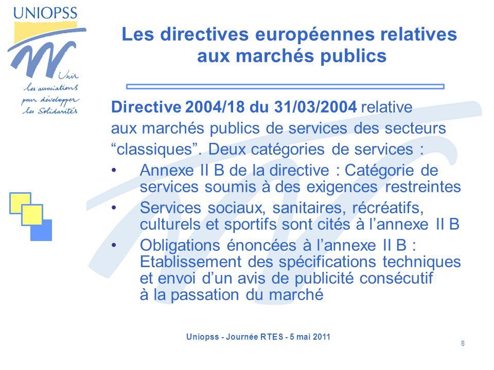 Les directives européennes relatives aux marchés publics