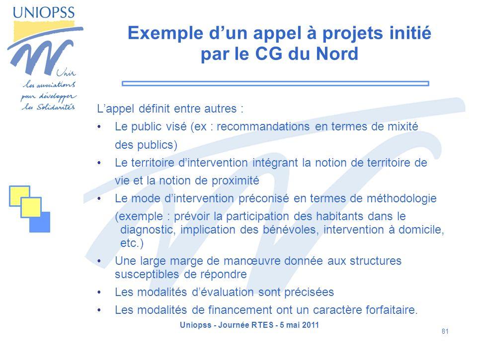 Exemple d'un appel à projets initié par le CG du Nord