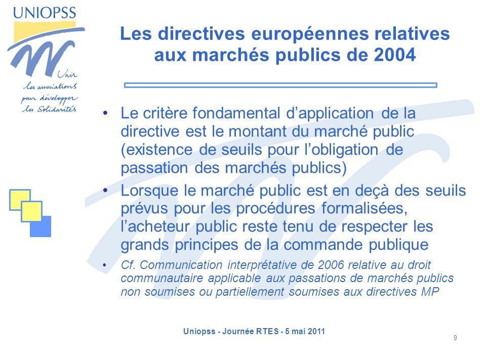 Les directives européennes relatives aux marchés publics de 2004